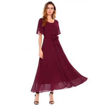 Women Casual Ruffle Sleeve Solid O Neck Pullover Flare Maxi Chiffon Dress