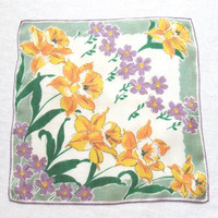 Linen Handkerchief with Yellow Daffodils and Purple Blossoms