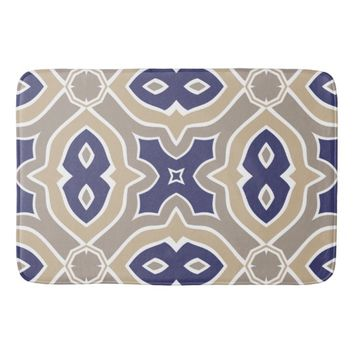 Navy Blue and Taupe Moroccan Bathroom Mat
