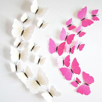 DCK9M2 Hot Sale 3D Butterfly Wall Decals12pcs 6big+6small PVC 3D Butterfly Wall Sticker for Home Decoration