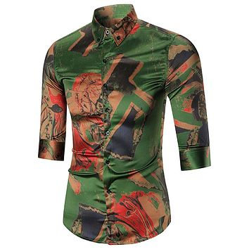Army Green Button-down Abstract Printed Men Shirt Tops 5826