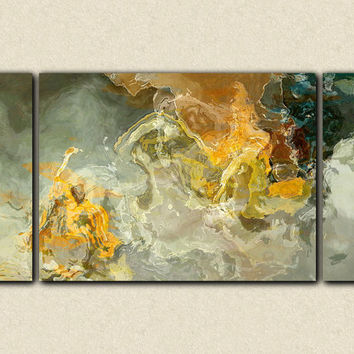 "Large triptych abstract art canvas print, 30x60 on stretched canvas, in earth tones, from abstract painting ""Dedicated"""