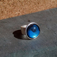 Blue and Black Painted Glass Dome Ring Jewelry