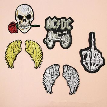fashion Badge Wing Skull Band Costume Iron on Patches for clothing Sticker for clothes Jeans applique embroidery T-shirt