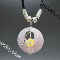 Natural Rose Quartz Donuts Necklace Pink Stone Healing Necklace