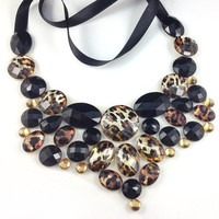 leopard bib necklace - black topaz and leopard rhinestone big statement necklace party holidays wedding necklace