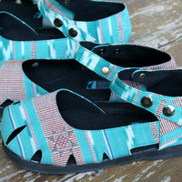 Womens Shoe Mary Jane Style In Turquoise Ikat Vegan Espadrille Summer Shoes - Dahlia