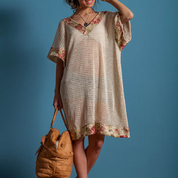 Net tunic, floral details tunic, v back tunic, beach cover up