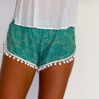 Pom Pom Shorts - Emerald Green & Off White Snake Print - Gym/Beach Shorts