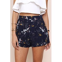 Boho Print Irregular Shorts Pants