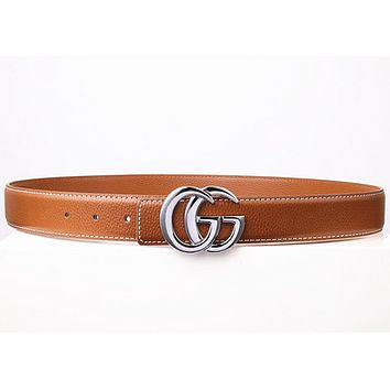 GUCCI Fashion Woman Men Fashion Smooth Buckle Waistband Leather Waistband Brown G