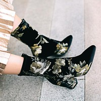Printed Velvety Thick High Heel Boots