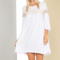 White Bell Sleeve Crochet Trim Swing Dress