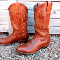 Cowboy boots 10.5 D / Vintage mens Ariat boots / rustic brown tooled leather