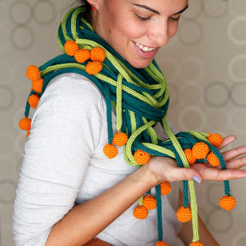 Unique Statement Shawl. Unique Green Knit Scarf With Orange Crochet Balls, 100% Handmade OOAK, Organic Cotton.