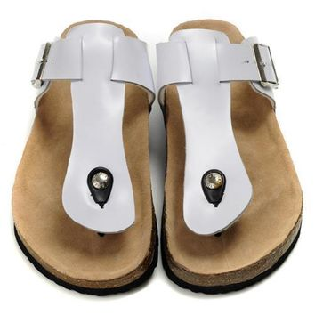 Birkenstock Leather Cork Flats Shoes Women Men Casual Sandals Shoes Soft Footbed Slippers-4