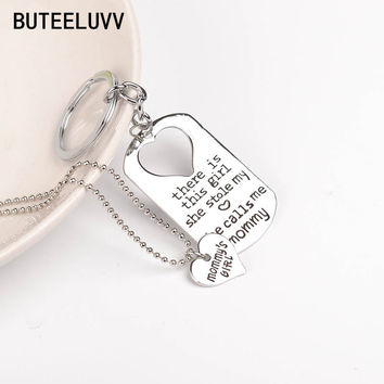 Hot Fashion Love Heart Nana's girl Necklace Keyring Keychain Set she stole my heart she calls me Nana Letter Pendant Jewelry