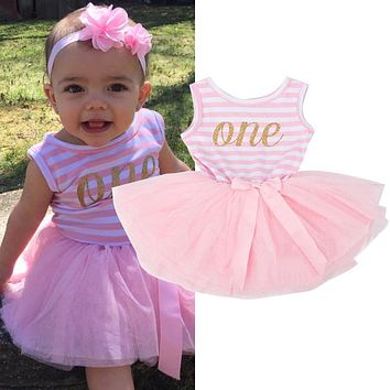 Toddler Girl 1st 2nd 3rd Birthday Party Dress Baby Girl Clothing Summer Princess Infant Party Dresses For Girls Outfits