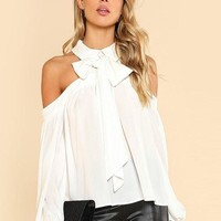 Bow Halter Open Shoulder Chiffon Blouse