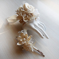 Wrist Corsage and/or Boutonniere, Sola Flowers, Birch Bark, Rustic, Country, Winter, Woodland, Wedding, Corsage, Boutonniere. Made to Order.