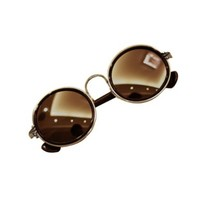 FUNOC® Retro 90s Women's Round Lens Sunglasses Goggles Steampunk Grunge
