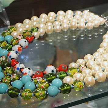 Carolyn TANNER Necklace Venetian Quadruple Multi Strand Designer Signed Murano Art Glass Wedding Cake Beads Faux Pearls Circa 1970s Beaded