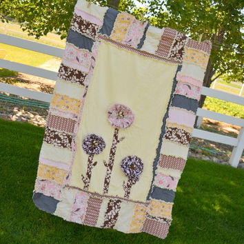 RAG QUILT with Ruffled Flowers in Pink, Yellow, and Brown for a Toddler Bed or Crib, Made to Order, Custom