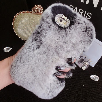 Bling Crystal Rhinestone Design Fashion Colour Fluffy Soft Genuine Rabbit Fur Handmade Winter Warm creative case for Apple iPhone 6s iPhone 6 6s Plus iPhone 5s