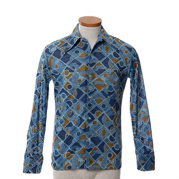 Vintage 60s 70s Mod Geometric Disco Shirt 1960s 1970s Lancer Rat Pack Boogie Nights Saturday Fever Pimp Prom Shirt / Mens S / Unisex