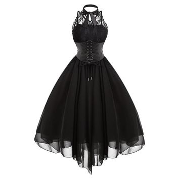 Gamiss 2018 Gothic Bow Party Dress Women Vintage Black Sleeveless Cross Back Lace Panel Corset Swing Dress Robe Vestidos Femme