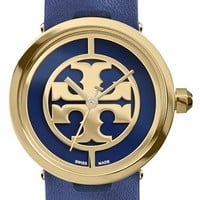 Women's Tory Burch 'Reva' Logo Dial Leather Strap Watch, 28mm - Navy/ Gold