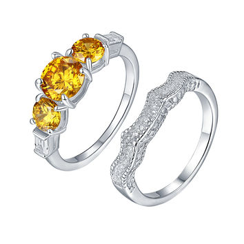 Canary 3 Solitaire Ring Band Set Bridal Engagement Set 925 Silver