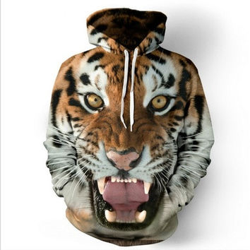 Tiger 3D Digital Printing Cap All-match Casual Hoodies Sweater [8833474252]