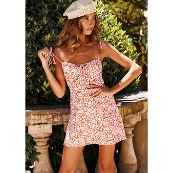 Summer Newest Popular Women Sexy Print Slip Dress Orange