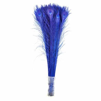 Natural Royal blue Dyed Red Peacock Feathers 70-80CM/28-32inch DIY Decor Feather for Crafts Wedding decoration plumes