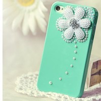 3d Swarovski Crystal+pearl Case for Iphone 4 / 4s(green Litte Daisy)