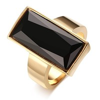 Stainless Steel Gold Plated Rectangle Glass Women's Fashion Ring, Black/Green/white/Blue