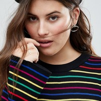 ASOS CURVE Sweater with Rainbow Stripe and Fluted Sleeve at asos.com