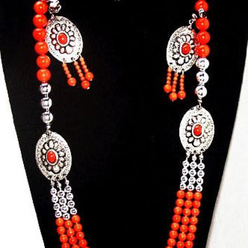 Concho Necklace Earring Set Orange & Silver Metal Beads South Western Boho Vintage 1980s