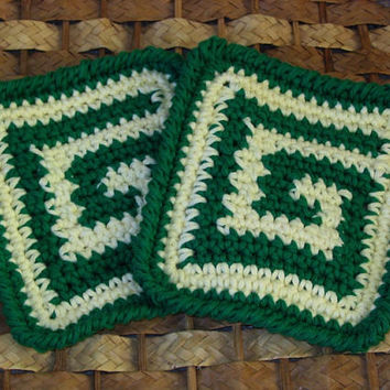 Green and Ivory Potholders or Hot Pads Set of 2 - Handmade Crochet Potholders - Artistic Kitchen Decor - Rustic Home Decor - Eco Friendly