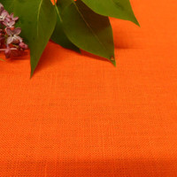 Orange Linen tablecloth. Natural linen table cloth. Linen tablecloth. Summer table