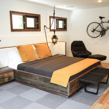 Reclaimed Wood Bed with Upholsterd Headboard and Nightstands