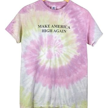 Make America High Again Pastel Wildflower Tie-Dye Graphic Unisex Tee