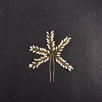 Simple Design Stylish Handcrafts Pearls Leaf Accessory [521517137974]