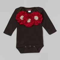 MyLolliflops Black & Off-White Rhinestone Flower Bodysuit - Infant | Something special every day
