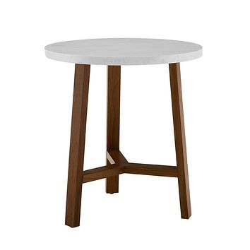 """20"""" Round Side Table - White Marble and Acorn"""