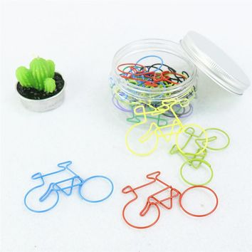 TUTU 4PCS/LOT Metal bicycle Shape Paper Clips candy Color Funny Kawaii Bookmark Office School Stationery big size Clips H0058