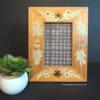 Vintage Decoupaged Dried / Pressed Flower Wood Frame, 6x4 Picture Frame, Photo Frame