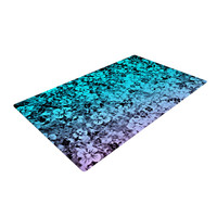 "Ebi Emporium ""Flower Power in Aqua"" Blue Purple Woven Area Rug"