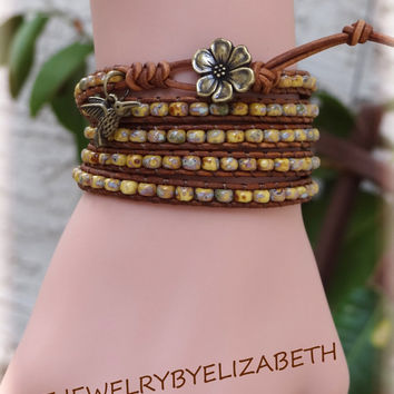 Hummingbird And Flower Seed Bead Leather Wrap Bracelet, Beaded Leather Wrap.